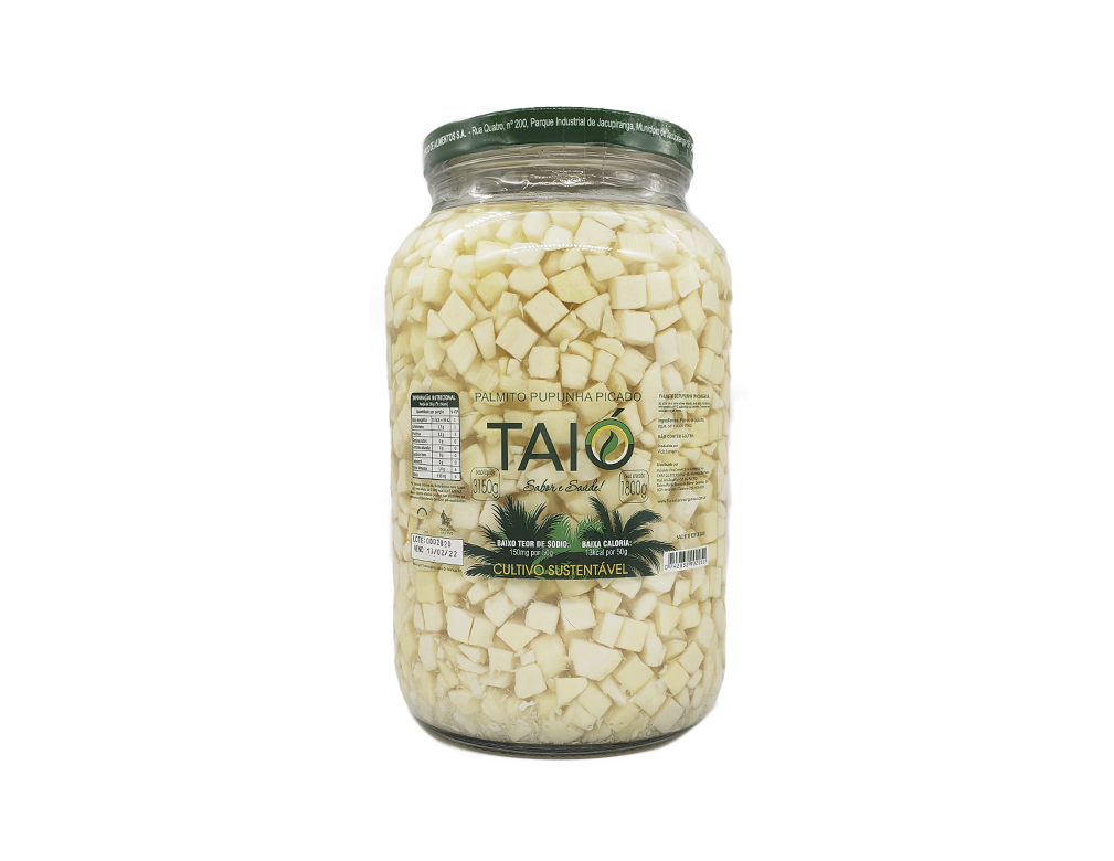 PALMITO PICADO PUPUNHA TAIÓ 1,8 KG